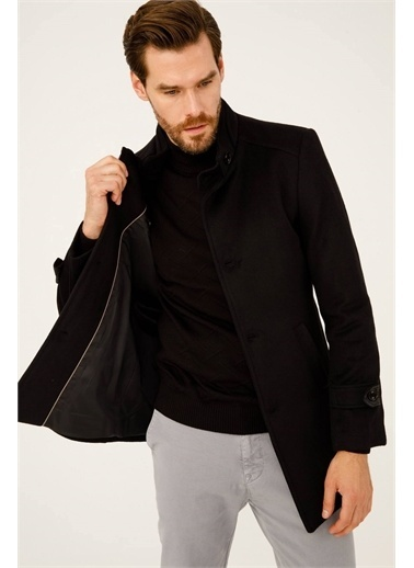 IGS Erkek Sıyah Slım Fıt / Dar Kalıp Std Palto Siyah